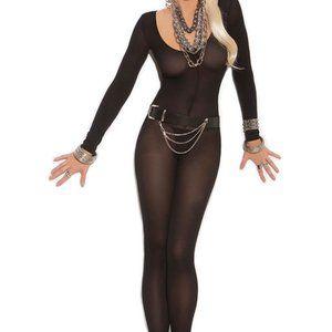 NIP Black Bodystocking Bodysuit One Size